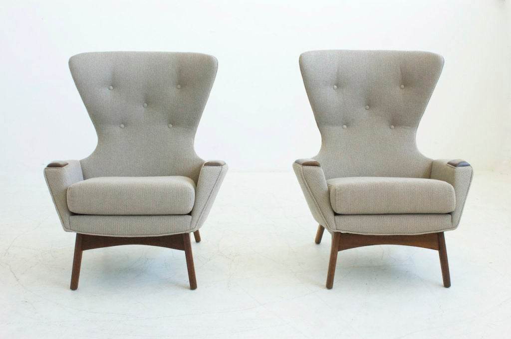 Pearsall for Craft Associates, Pair of Wing Back Lounge Chairs, reupholstered with Great Plaines fabric.