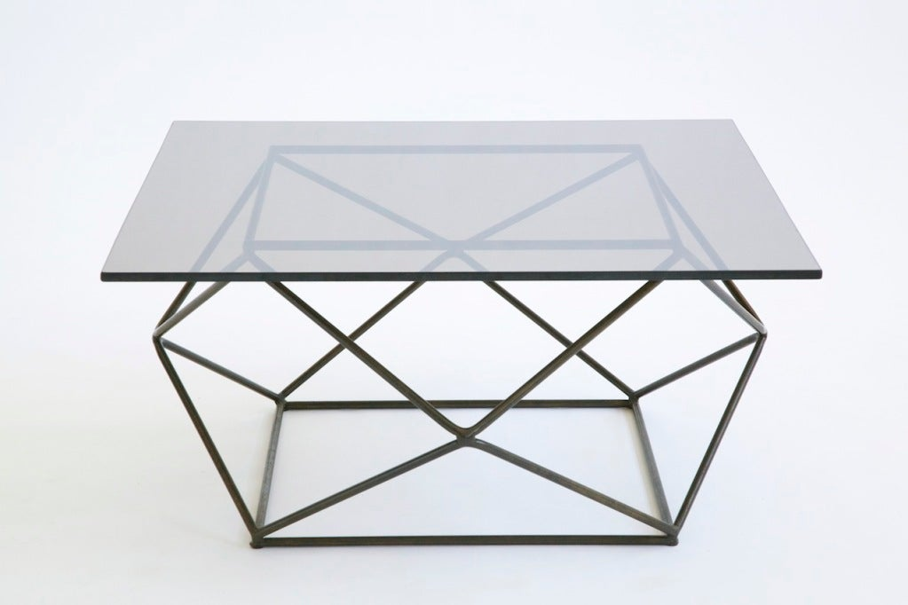 Rare and important Baughman for Directional, Geodesic style coffee table.<br /> Solid bronze rods welded to create a structurally sound base.<br /> Original bronze tinted glass top.