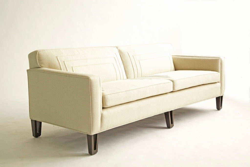 Wormley design for Dunbar, great scale, solid cut-out wood legs, and has been reupholstered to the original pattern, a technique called Trapunto, Italian for