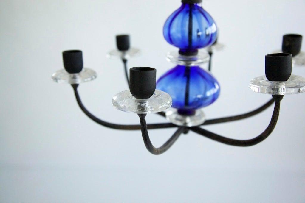Erik Hoglund candelabrum for Boda Nova Glassworks/Axel Stromberg Ironworks