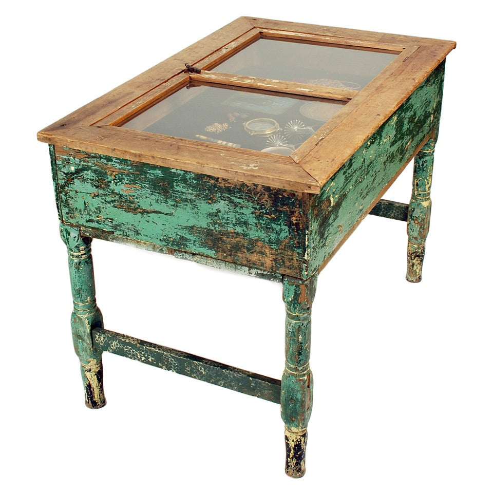 Antique Mexican Glass Top Display Table At 1stdibs