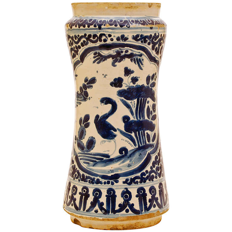A Fine 18th Century Mexican Talavera Poblana Blue On White