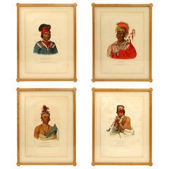 Suite of Four Rare McKenney & Hall Hand-Colored Lithographs, circa 1840