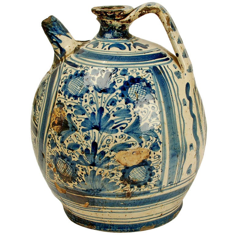 Large Antique Spanish Talavera Blue On White Wine Ewer At