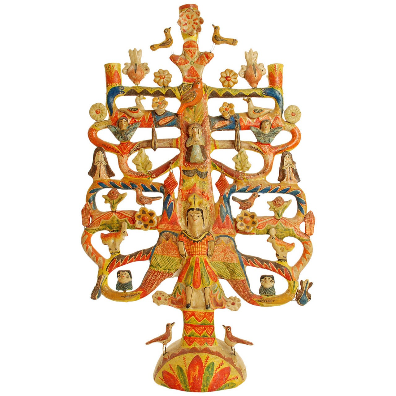 Large Vintage Mexican Tree Of Life Candelabrum By Aurelio