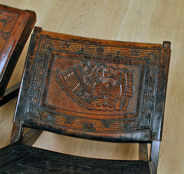 Pair Of Good Vintage Mexican Butaque Campeche Chairs