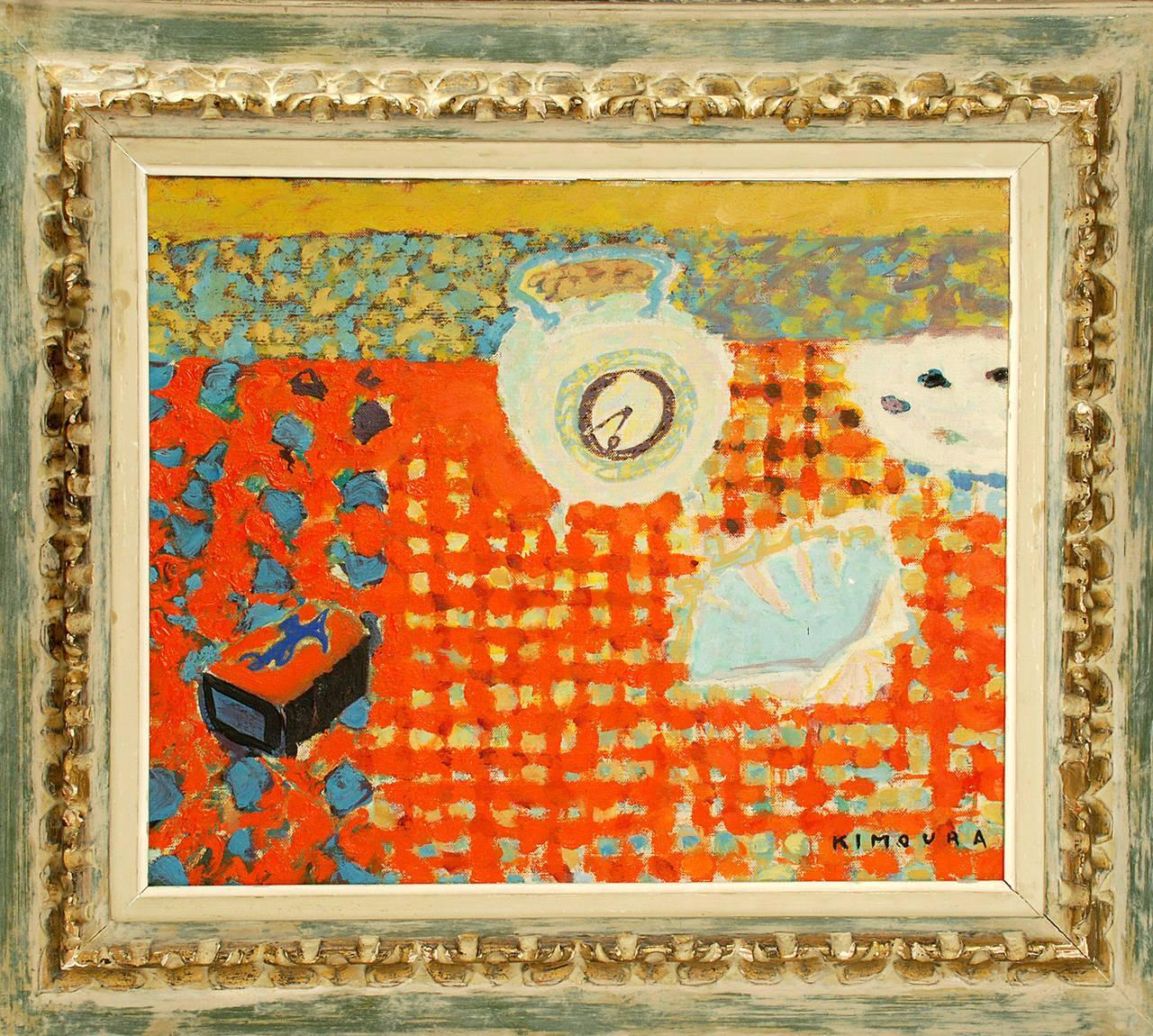 vintage kimoura oil on canvas reveil matin 1956 at 1stdibs. Black Bedroom Furniture Sets. Home Design Ideas