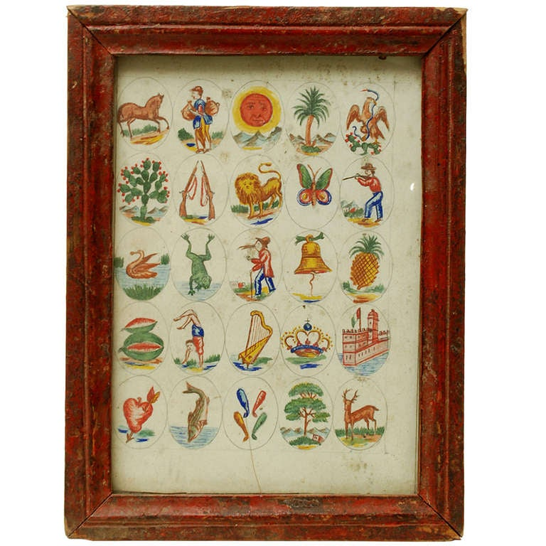 Rare Antique Hand Painted Mexican Loteria Bingo Card