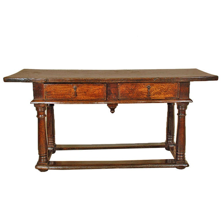 French Connection Gunmetal Coffee Table: A Superb 17th Century Italian Baroque Walnut Center Table