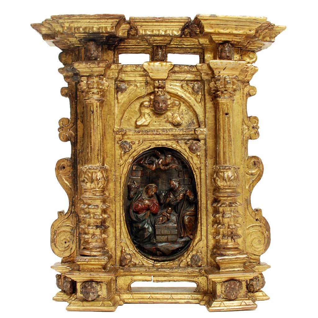 Superb 17th Century Sicilian Mecca Giltwood Tabernacle at