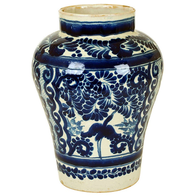 A Good Vintage Mexican Talavera Blue On White Jar