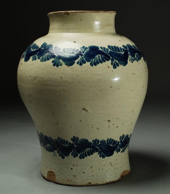 Large 18th Century Talavera Poblana Blue On White Jarron