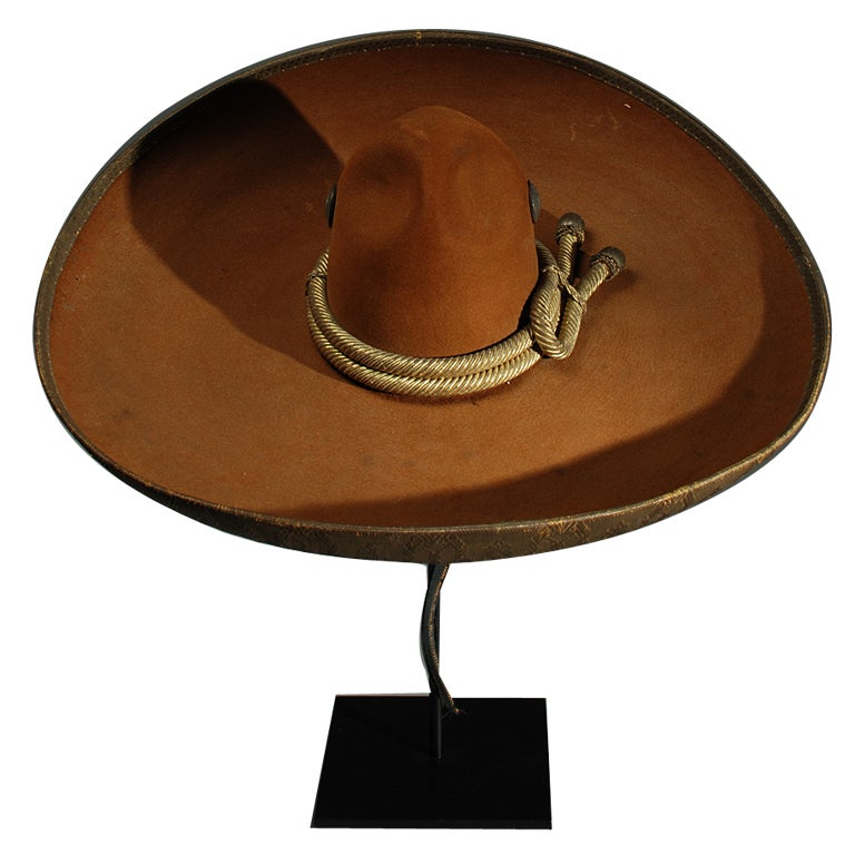 Large Antique Mexican Felt Sombrero With Silver Conchos At