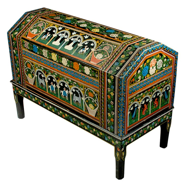 Vintage Mexican Painted And Lacquered Chest Olinala At