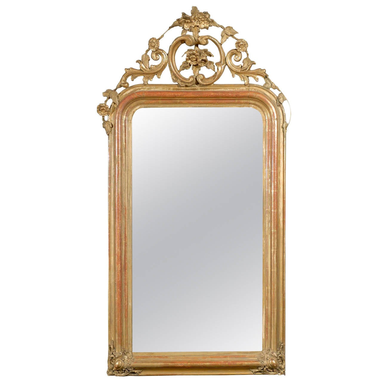 French gilt mirror with crest at 1stdibs for What is a gilt mirror