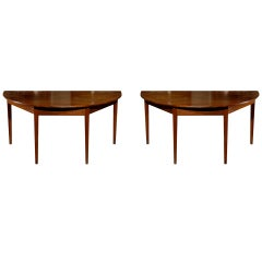 Pair of George III English Large Size Mahogany Demi-Lune Console Tables
