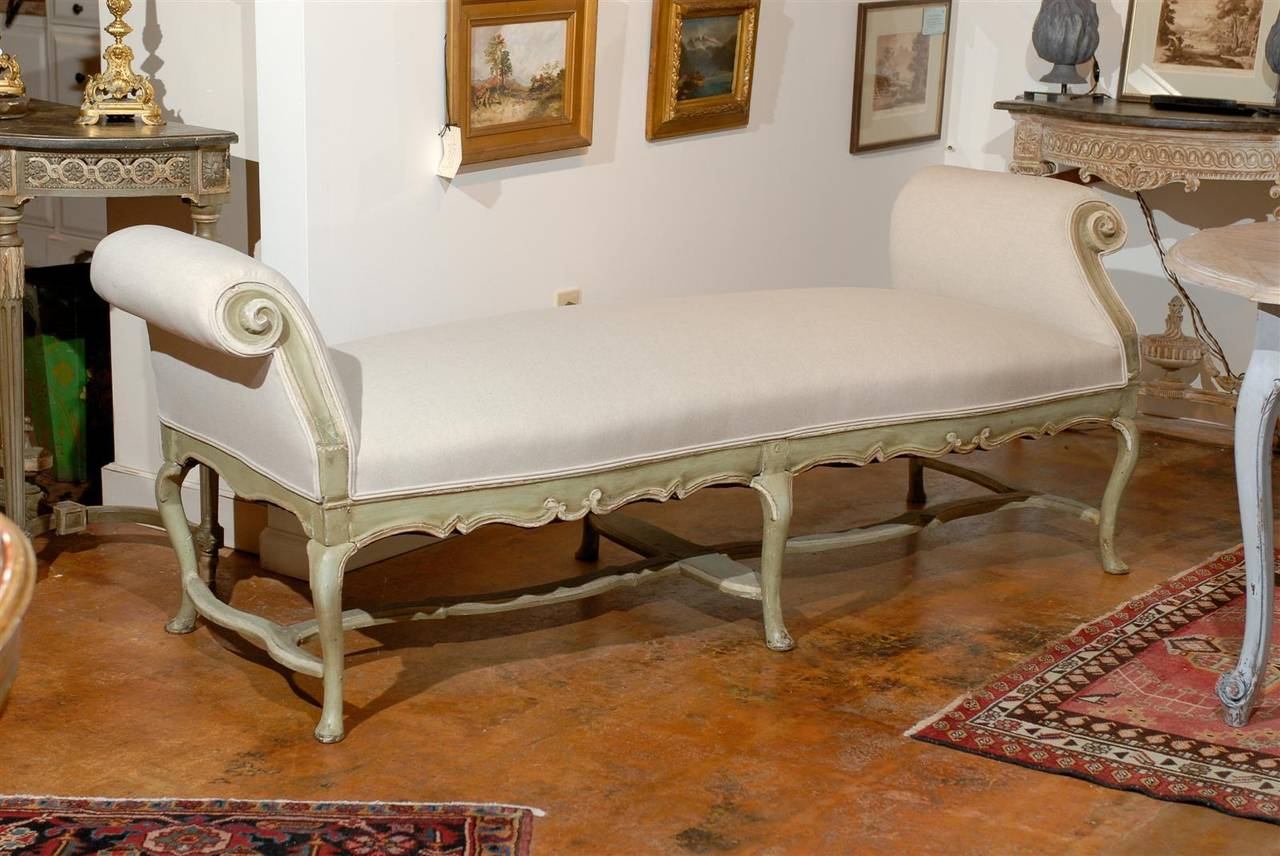 Italian Rococo 18th Century Long Bench with Scrolled Arms and Carved Apron 2