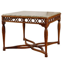 1820s Italian Walnut Marble-Top Center Table with Pierced Apron