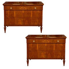 Pair of Neoclassical Three-Drawer Commodes with Marquetry from Tuscan Estate.