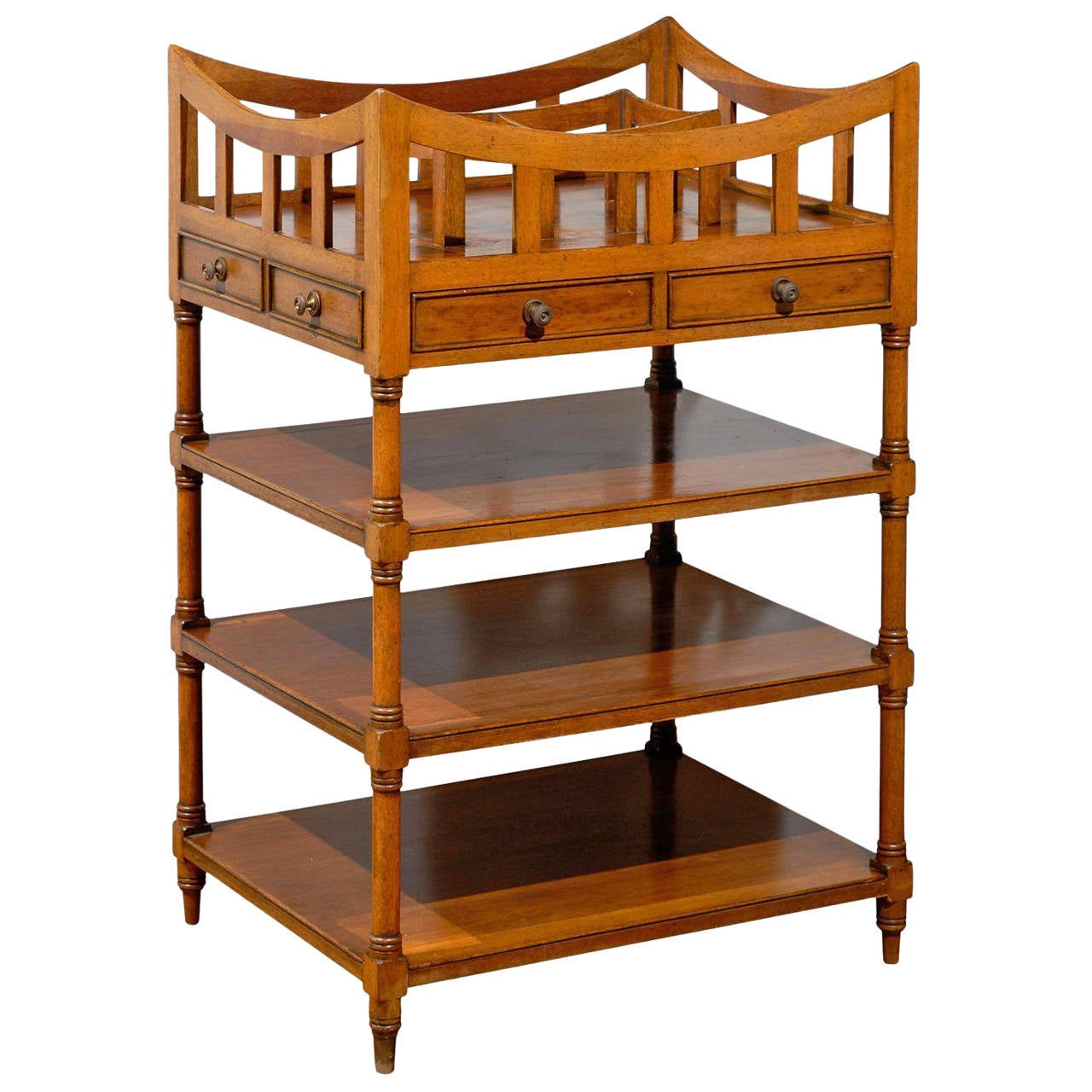 Italian 19th Century Walnut Tiered Étagère with Pierced Gallery and Shelves For Sale