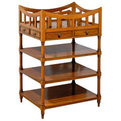 Italian 19th Century Walnut Tiered Étagère with Pierced Gallery and Shelves