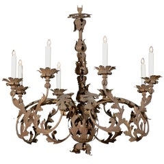 Italian 1890s Wrought Iron Eight-Light Chandelier with Scrolling Acanthus Leaves