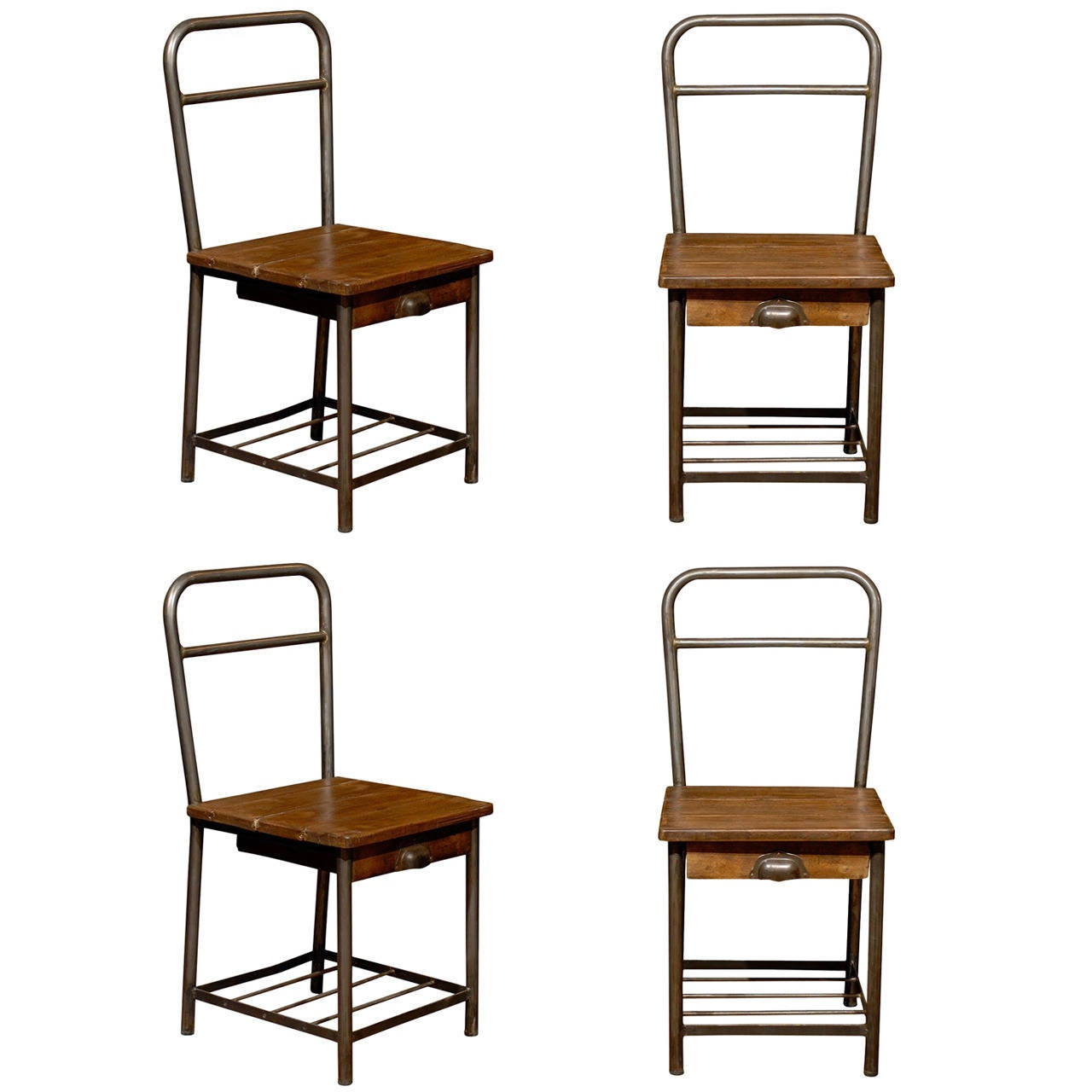 Charmant Pair Of French Industrial Chairs For Sale