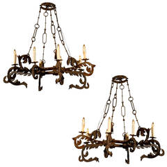 Pair of Early 18th Century Italian Iron Eight-Light Gothic Revival Chandeliers