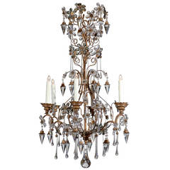 Mid-19th Century Italian Crystal and Iron Six-Light Chandelier