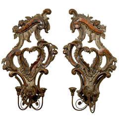 Pair of 19th Century Italian Rococo Revival 2-Light Sconces