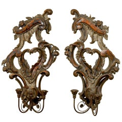Pair of 19th Century Italian Rococo Revival 2-Light Sconces