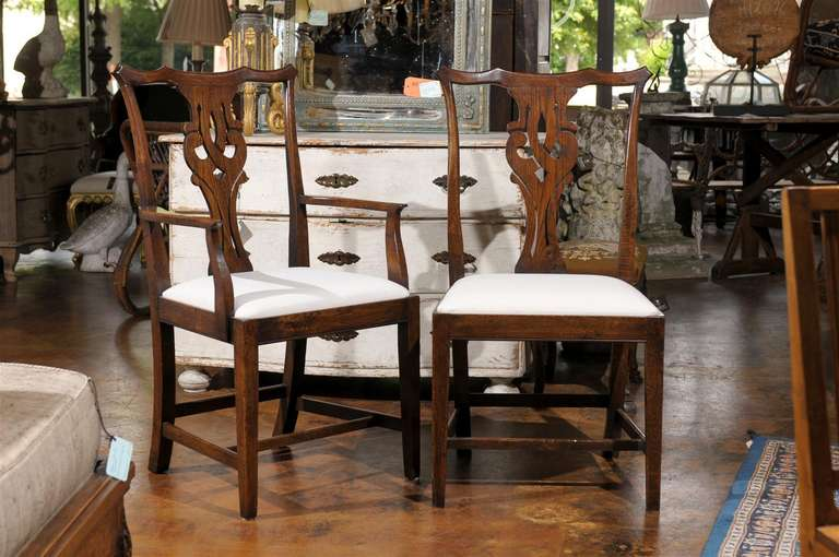 A Set Of Eight English Oak Chippendale Style Dining Room Chairs From The  20th Century Including