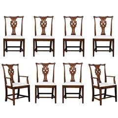 Set of Eight English Chippendale Style Oak Dining Room Chairs with Pierced Splat