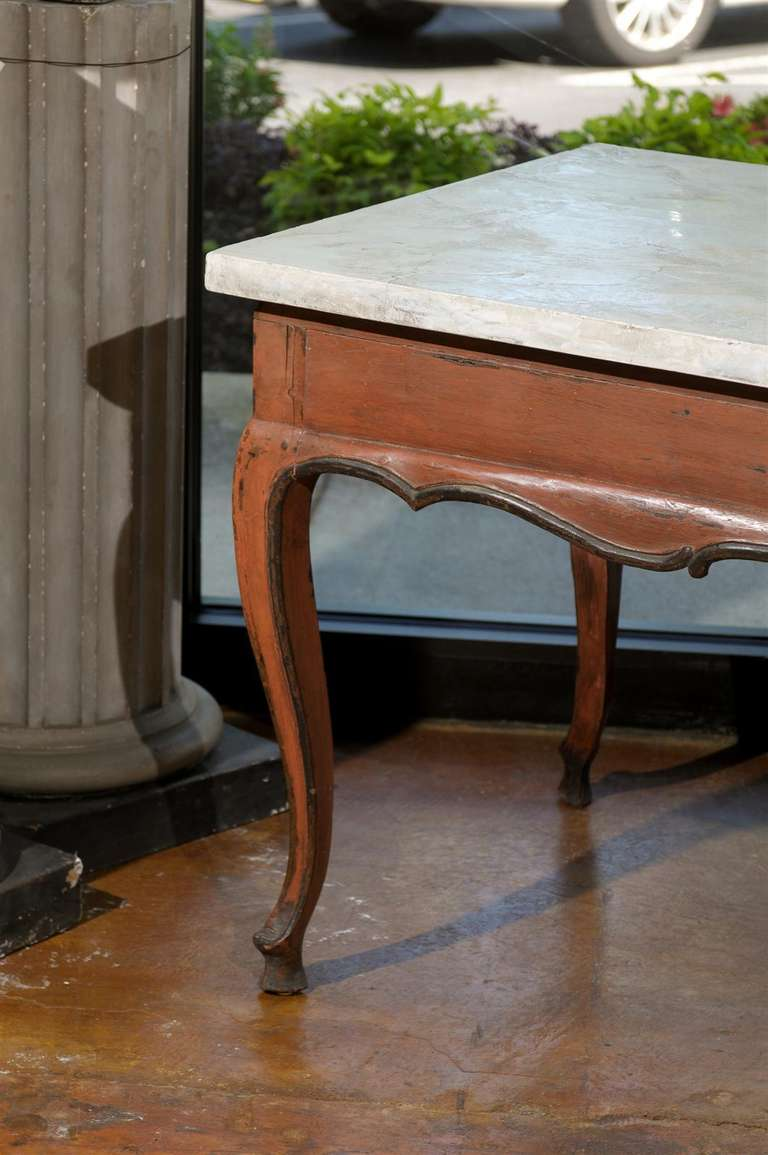 Louis xv provincal painted center table with cabriole legs for Center table legs