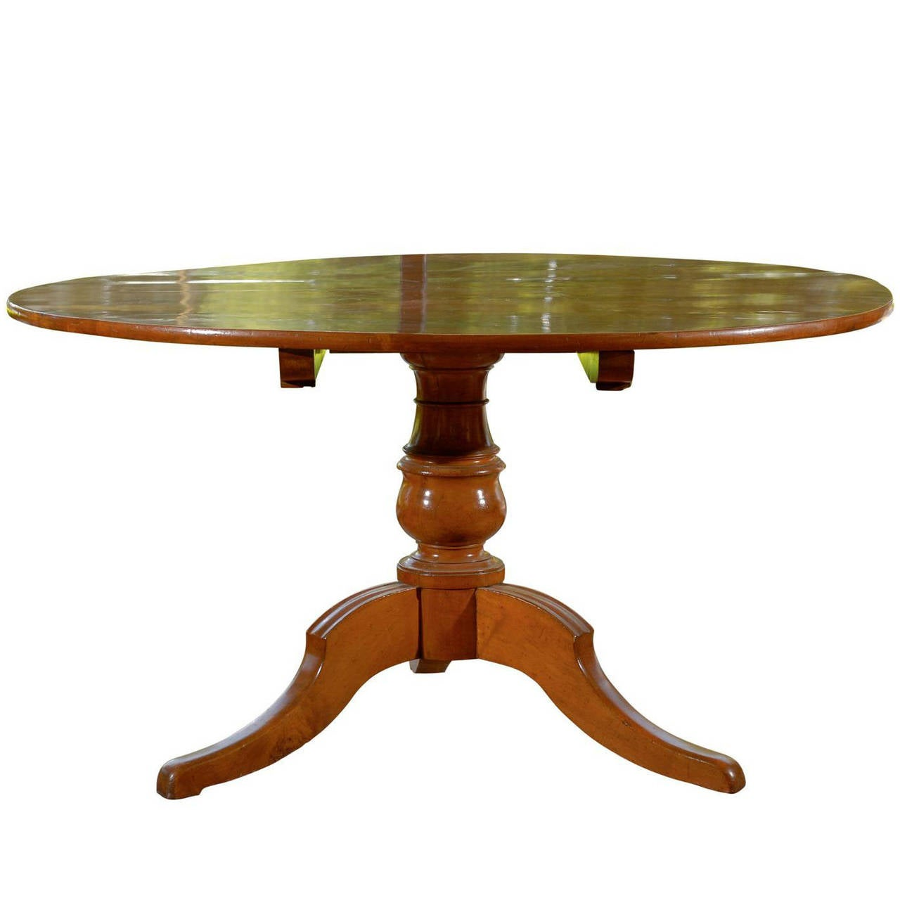 Italian 1850s Fruitwood Round Tilt Top Dining Table With Pedestal Base For Sale