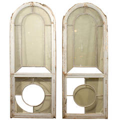 Pair of Contemporary French Paint Decorated Windows