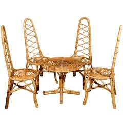 Vintage French Rattan Table and Four Chairs
