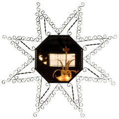 Vintage French Metal Star-Form Mirror