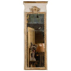 Early 18th Century French Giltwood and Paint Decorated Trumeau Mirror