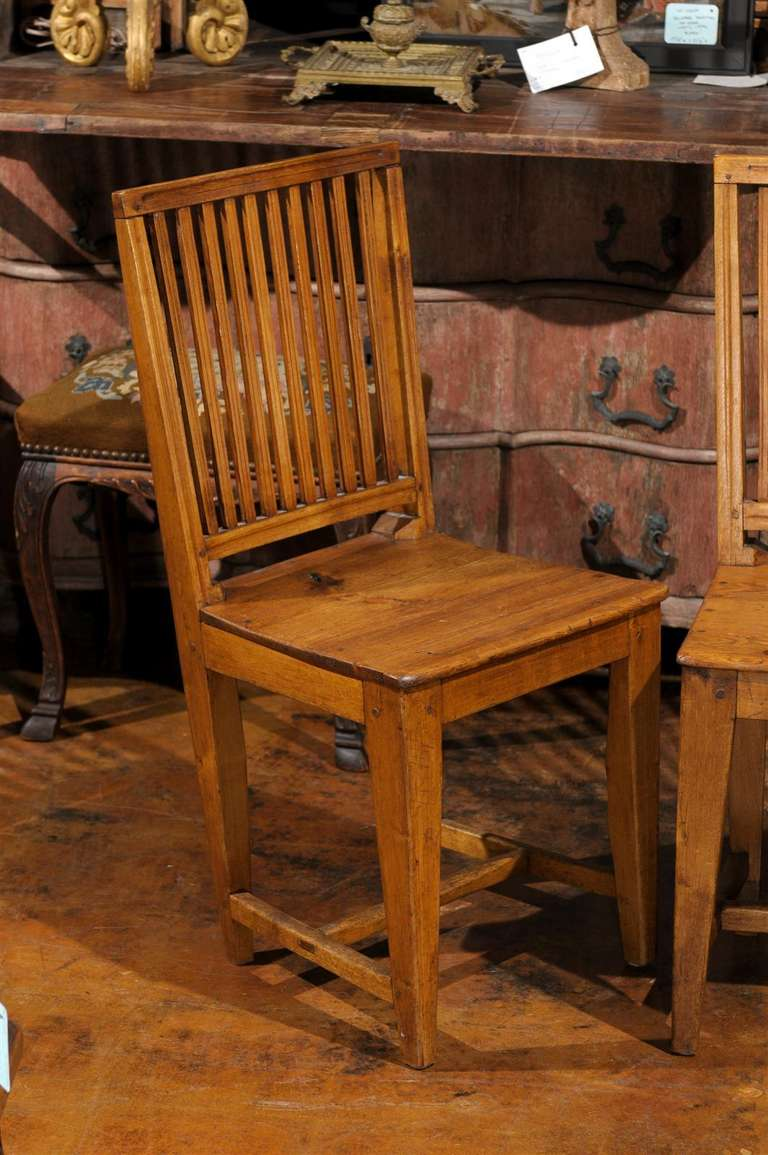 Pine Set of Eight Late 18th Century Swedish Gustavian Period Side Stick-Back Chairs For Sale