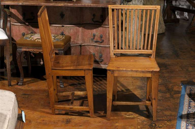 Set of Eight Late 18th Century Swedish Gustavian Period Side Stick-Back Chairs For Sale 2