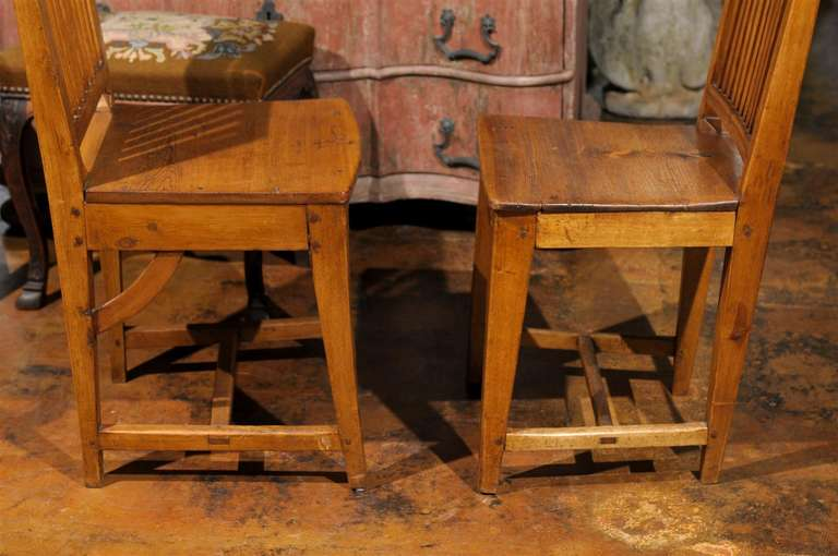 Set of Eight Late 18th Century Swedish Gustavian Period Side Stick-Back Chairs For Sale 6