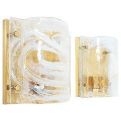 J.T. Kalmar Solid Pair of Murano Glass Brass Sconces Wall Lamps, Austria 1960