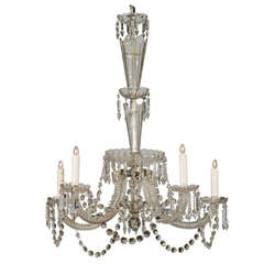 Five-Light Belgian Crystal Fountain-Like Chandelier from the 19th Century