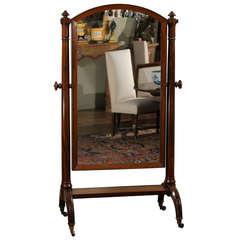 Scottish 1820s Mahogany Free Standing Tilting Cheval Mirror with Crescent Legs