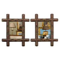 Pair of 20th Century Tramp Art Frames with Mirrors
