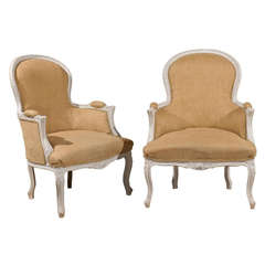 Pair of Early 20th Century Paint Decorated Upholstered Louis XV Bergeres