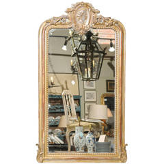 19th Century French Giltwood Mirror with Crest