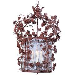 19th Century Italian Tole and Glass Hanging Lantern
