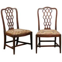 Pair of George III Lattice Back Side Chairs